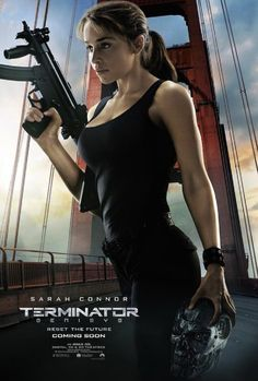 Paramount has released new Terminator Genisys character posters; the film stars Arnold Schwarzenegger, Emilia Clarke, Byung-hun Lee, and Jason Clarke. Terminator Genisys Emilia Clarke, Terminator Movies, Arnold Schwarzenegger, Gi Joe, Terminator Genesis, Emilie Clarke, Emilia Clarke Daenerys Targaryen, John Connor, Photo Star