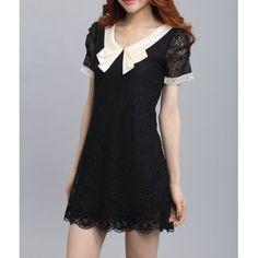 Black taupe lace color block dress