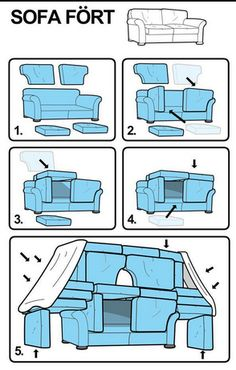 How to build a sofa fort! Haha I love how ikea-ized the instructions are! Things To Do At A Sleepover, Fun Sleepover Ideas, Sleepover Games, Sleepover Crafts, Teen Sleepover, Ideas For Sleepovers, Sleepover Birthday Parties, Teen Party Games, Teen Birthday