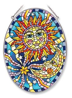Amia Oval Suncatcher with Sun and Moon Design, Hand Painted Glass, 6-1/2-Inch by 9-Inch by Amia. $23.94. Includes chain. Comes boxed, makes for a great gift. Handpainted glass. Amia glass is a top selling line of handpainted glass decor. Known for tying in rich colors and excellent designs, Amia has a full line of handpainted glass pieces to satisfy your decor needs. Items in the line range from suncatchers, window decor panels, vases, votives and much more.