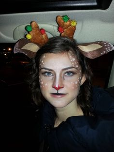 Keep the fawn makeup from Halloween by adding a red nose and saying you're Rudolph