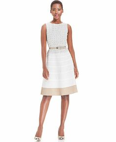 Anne Klein Sleeveless Crochet Belted Dress - Dresses - Women - Macy's