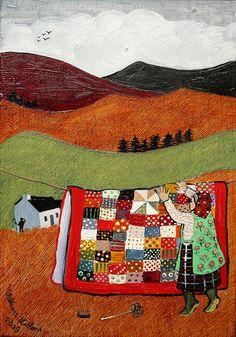 'Lluest yn y mynydd' painting by Valériane Leblond from Llanrhystyd, Wales