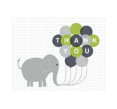 SET of 10 Children's Elephant Thank You Cards - Balloons Kids Birthday, Baby Shower, Thank You Notes in Blue, Lime Green Chartreuse and Grey...