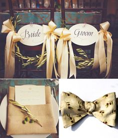 Olive wedding theme and our bowtie for page boy