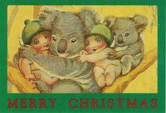 Green rectangular gift card with gumnut babies and koalas. Aussie Christmas, Australian Christmas, Christmas Baby, Vintage Christmas, Christmas Cards, Christmas 2019, Vintage Books, Vintage Postcards, Christmas In Australia