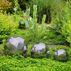 Set Of Three Aluminium Geometric Garden Spheres 7 10 & Garden Spheres, Floating In Water, Garden Ornaments, Outdoor Decor, Gardening, Products, Landscaping, Lawn And Garden, Gadget