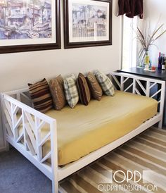 Love the daybed frame- would work with a queen mattress- great for the girls room