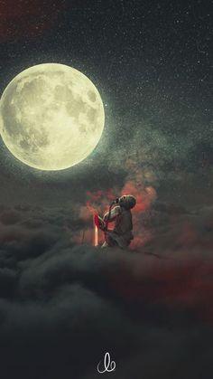 Demon, dream, clouds, moon, fantasy, 720x1280 wallpaper
