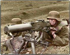 Royal Hungarian Honved machine gun team firing Schwartzlose MG 07/12 Russian Front 1941