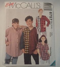 1993 McCall's Boy's and Girl's Tops 6757 by MammieandPappysPlace