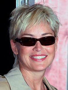 Wow still looks amazing!! Sharon Stone goes gray....looks like platinum blonde to me.