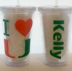 University of Miami Hurricanes Orange and Green 16 oz Tumbler $10.00, via Etsy.