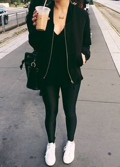 Women's white sneakers outfit 80 40 Casual Bomber Jacket Outfits for Winters 'Cause it's Back in Trend' Casual Outfits, Cute Outfits, Fashion Outfits, Work Outfits, Style Fashion, All Black Outfit Casual, Work Dresses, Cheap Fashion, Fashion Women