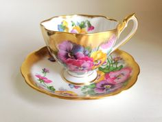 Passionate Pansies Queen Anne Tea Cup and Saucer, Pansy Teacups, Tea Cups and Saucers, Pansy Tea Set, Bone China Tea Cups, English Tea Sets
