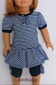 "Navy Blue Striped Dress Leggings for 18"" American Girl Doll Clothes Selection"