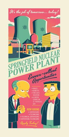 """Art from the Simpsons """"SNPP"""" by Dave Perillo - The Incredible Art Gallery Nuclear Energy, Nuclear Power, Futurama, The Simpsons, Cute Backgrounds, New Poster, Silk Screen Printing, Cartoon Art, The Incredibles"""