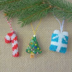 Mini Christmas Ornament Collection - Candy Cane, Christmas Tree, Gift Box - Festive Decor for the Tree - Gift for Student, Sister, Colleague by DewCatDesigns on Etsy