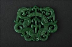 Vintage Classical Hand Carved Old Jade Chinese Knot Dragon Pendant