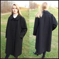 1950s black wool gaberdine coat, vintage,swing, swagger,tent, pyramid,  Harry Potter coat, Richard H Martin, ILGWU label, size XLg. by BornToShopVintage on Etsy