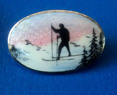 Norwegian Silver Scenic Enamel Ski Skiing Brooch Clement Berg Norway | eBay