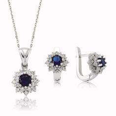 gümüş, nilüfer, çiçek, set, yüzük, kolye, küpe, gümüş safir set, gümüş renkli set