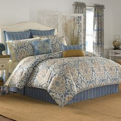 Burgundy, blue, ivory Bedspreads and Comforters   Captain's Quarters Bedding Collection Beige