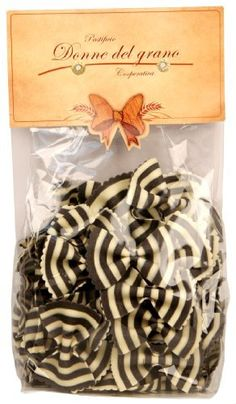 This is a must do for a black tie dinner party. Marella Zebra Black and White Bowties(farfalle Magia Bianca) Hand Made Italian Pasta, Packages (Pack of Gourmet Food Store, Gourmet Recipes, Farfalle Pasta, White Pasta, Italian Pasta, Packaging, Food Design, Design Ideas, Pasta Dishes
