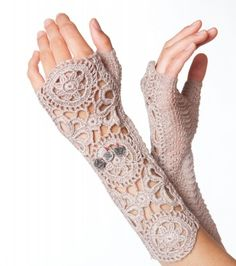 crocheted sleevewarmers I WANT A PAIR OF THESE...but don't know how to crochet.(