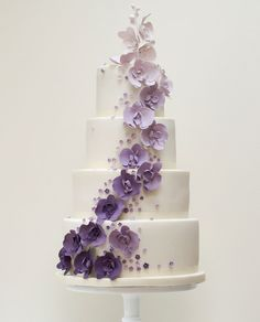 Purple Ombre Wedding Cake Decorations on the cake