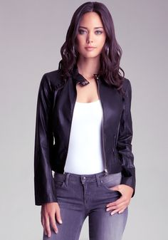 bebe | Ruffle Leatherette Jacket - View All