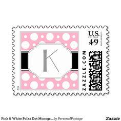 Pink & White Polka Dot Monogram Postage Stamps