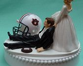 Wedding Cake Topper Auburn University Tigers AU G Football Themed w/ Garter, Display Box. $59.99, via Etsy.