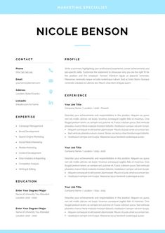 Resume template with matching cover letter and references page. Modern and creat… Resume template with matching cover letter and referenc. One Page Resume Template, Modern Resume Template, Business Plan Template, Creative Resume Templates, Creative Cv, Best Resume, Resume Tips, Cv Tips, Cv Guide