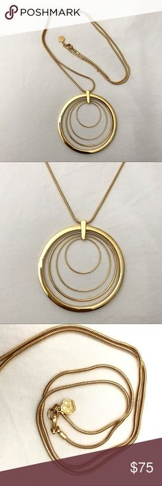 """Trina Turk Multi round pendant Gold plated brass metal, chain lenght is approx. 36"""", pendant diameter is approx. 2.8"""" Trina Turk Jewelry Necklaces"""