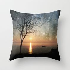 The old man and the sea Throw Pillow by Paula Belle Flores - $20.00