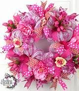 ... Mesh Summer Wreath Pink Peony Tulip Burlap Chevron Ribbon Door Wreath