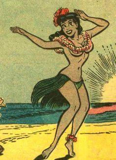 meaning behind hawaiian tribal tattoos #Hawaiiantattoos Hawaiian Girls, Hawaiian Art, Hawaiian Tattoo, Vintage Hawaiian, Hawaiian Tribal, Vintage Cartoon, Vintage Comics, Hula Girl Tattoos, Kitsch
