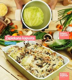 Zapiekana kapusta w beszamelu Polish Recipes, Cabbage, Tacos, Food And Drink, Vegetables, Ethnic Recipes, Foodies, Veggie Food, Cabbages