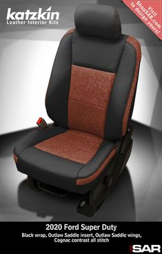 - This is a 2020 Ford seat with Black wrap, Outlaw Saddle insert, Outlaw Saddle wings, Cognac contrast all stitch. Leather Kits, Custom Leather, Real Leather, Automotive Upholstery, Car Upholstery, Camo Gear, Leather Seat Covers, Ford Super Duty, Popular Colors