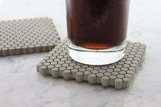 Modern hexagon coasters.