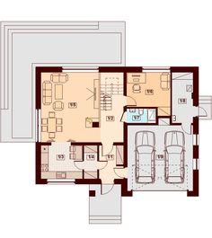 DOM.PL™ - Projekt domu DN DARLENA (garaż dwustanowiskowy) CE - DOM PC1-71 - gotowy koszt budowy House Plans, Floor Plans, How To Plan, Houses, Sexy, New Kitchen, Riddling Rack, House With Garage, Homes