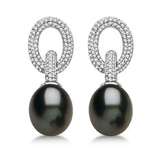 Allurez Freshwater Cultured Black Pearl & Diamond Earrings 14K W. Gold... ($2,365) ❤ liked on Polyvore featuring jewelry, earrings, 14k gold earrings, 14 karat gold earrings, 14k pearl earrings, 14k earrings and 14k diamond earrings
