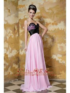 Baby Pink Empire Sweetheart Brush Train Chiffon and Elastic Woven Satin Hand Flower Prom / Celebrity Dress- $134.29  http://www.fashionos.com  Beauty and comfort combine to create this pink sweetheart style.It features black tulle on the outside of the bodice,which makes you look sexy and seductive,the beading on the top part also add more details of the bodice.The pleated waistband and the big flower on the waist flatter your slim waist. The skirt falls in soft, clean lines to your feet.
