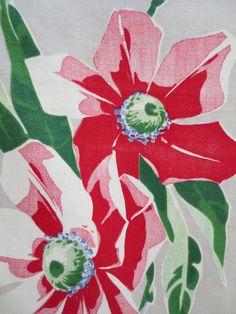 Vintage Tea Towel Dish Towel Floral Tea Towel Red by BettyAndDot, $16.50