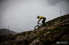 Photo of Martin Maes in Val-d'Isère, France. Martin Maes gets scarier and scarier, after the second stage today he was running third overall. He's still only 17 and on flat pedals. He fell back a bit on the longer, more physical stage at the end of the day, but that fitness will come with age.