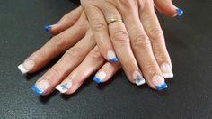 Gel francesa en azul y blanco