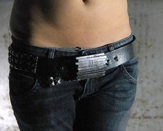 Welded steel plank belt buckle industrial belt by TheJunkShow, $45.00