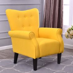 Yellow Wing Back Occasional Lounge Chair And Footstool