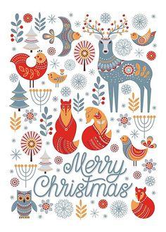 The pattern of animals, flowers, trees, birds. The #Scandinavian style. Folk art. #Christmas pattern.  #Posters #folkart #merrychristmas
